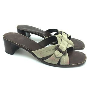 Cole Haan Heeled Suede Leather Sandals, Size 8.5 B